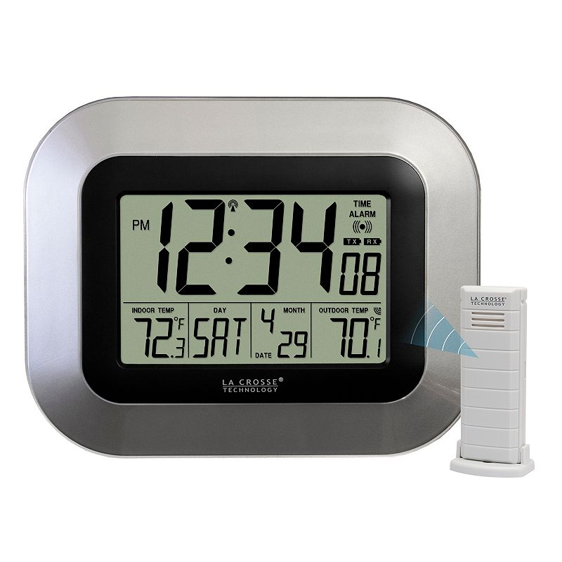 La Crosse Technology Atomic Digital Wall Clock (WS-8115U), Grey