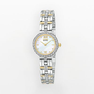 Citizen Eco-Drive Silhouette Stainless Steel Two Tone Crystal Watch - Women