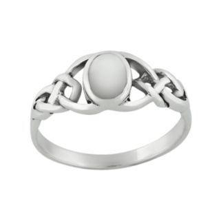 Sterling Silver Mother-of-Pearl Celtic Knot Ring