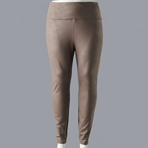 Plus Size Simply Vera Vera Wang High Rise Faux Leather Leggings