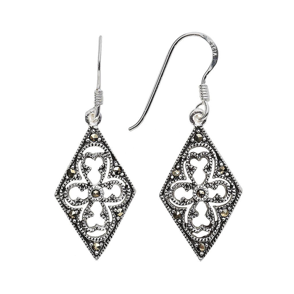 Sterling Silver Marcasite Filigree Kite Earrings