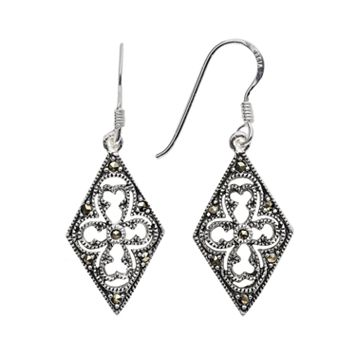 Sterling Silver Marcasite Filigree Kite Earrings