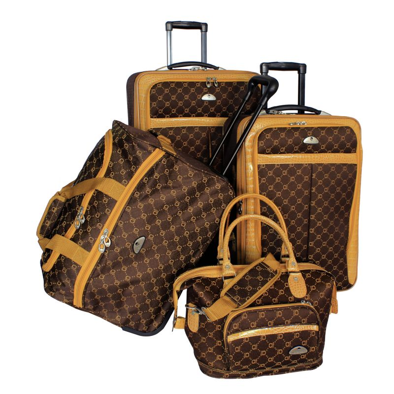 American Flyer AF Signature 4-Piece Luggage Set, Brown
