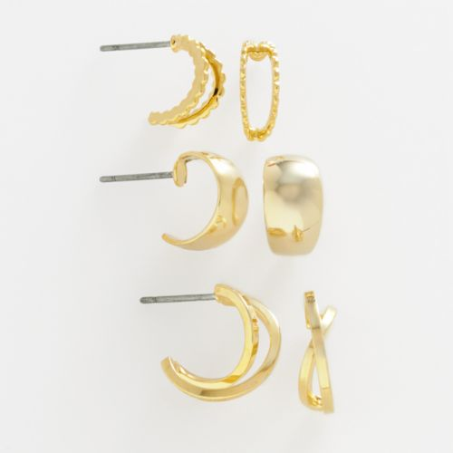 Napier Gold Tone Hoop Earring Set
