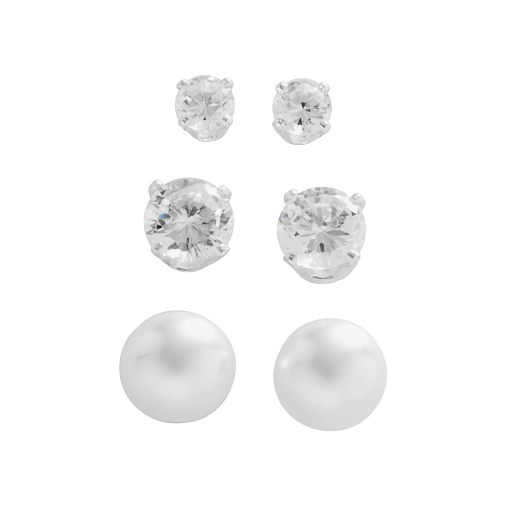 Napier® Silver-Tone Simulated Pearl & Simulated Crystal Stud Earring Set