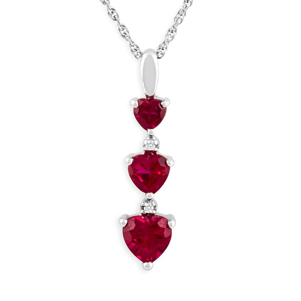 Sterling Silver Lab-Created Ruby & Diamond Accent Pendant