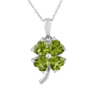 Sterling Silver Peridot Four-Leaf Clover Pendant