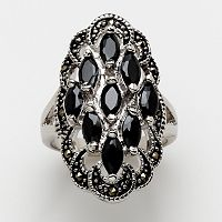 Silver-Tone Crystal & Marcasite Cluster Ring