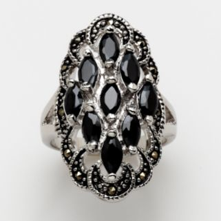 Silver-Tone Crystal and Marcasite Cluster Ring