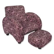 Trend Lab Velour Zebra Chair and Ottoman Set