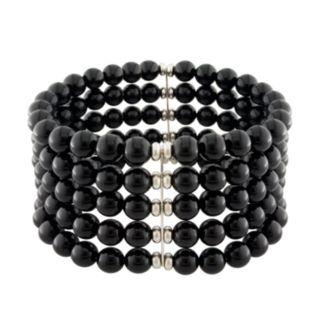 Sterling Silver Onyx Stretch Bracelet