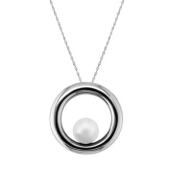 Sterling Silver Freshwater Cultured Pearl Circle Pendant