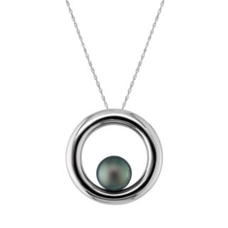 Sterling Silver Tahitian Cultured Pearl Circle Pendant