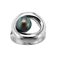 Sterling Silver Black Tahitian Cultured Pearl Ring