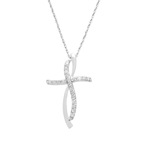 10k White Gold 1/4-ct. T.W. Diamond Cross Pendant