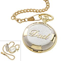 Men's 'The Greatest Dad' Two Tone Pocket Watch