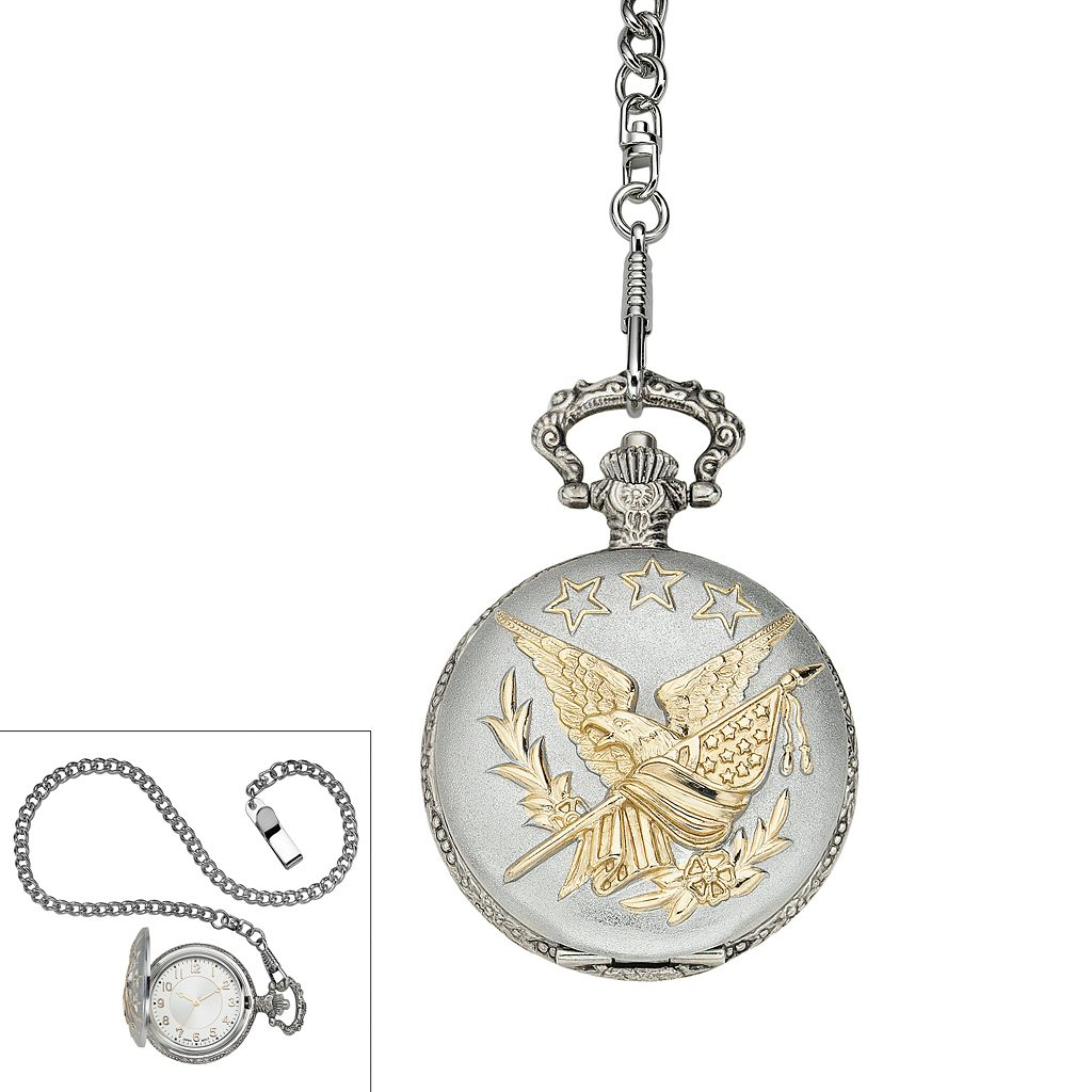 Men's Two Tone Star & Eagle Pocket Watch
