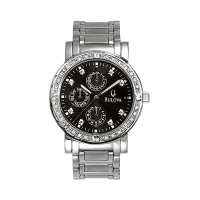 Bulova Stainless Steel Diamond Accent Watch - Men