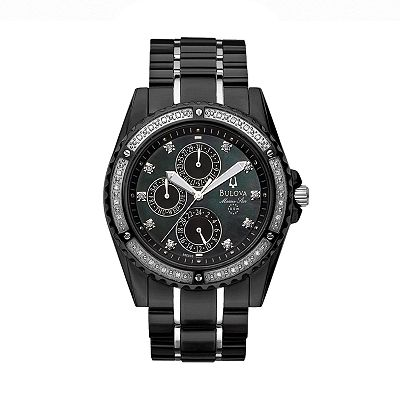 Bulova Marine Star Stainless Steel Black Ion Diamond Accent Watch - Men