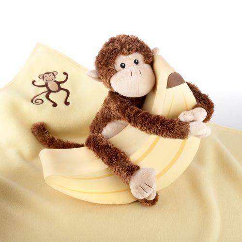 Baby Aspen Plush Monkey and Blanket Gift Set