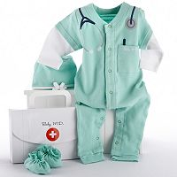 Baby Aspen Big Dreamzzz 3 pc Doctor Coveralls Gift Set - Baby