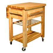 Catskill Craftsmen Baby Grand Workcenter Kitchen Cart With Wine Rack
