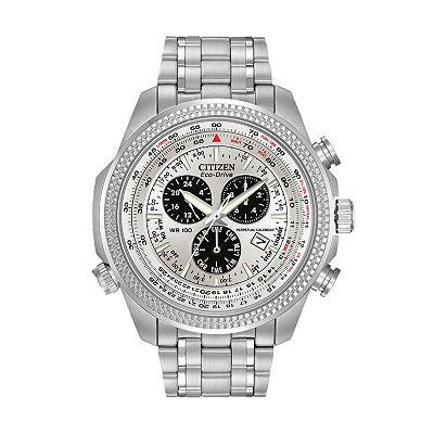 Citizen Eco-Drive Stainless Steel Perpetual Calendar Flight Computer Chronograph Watch - Men