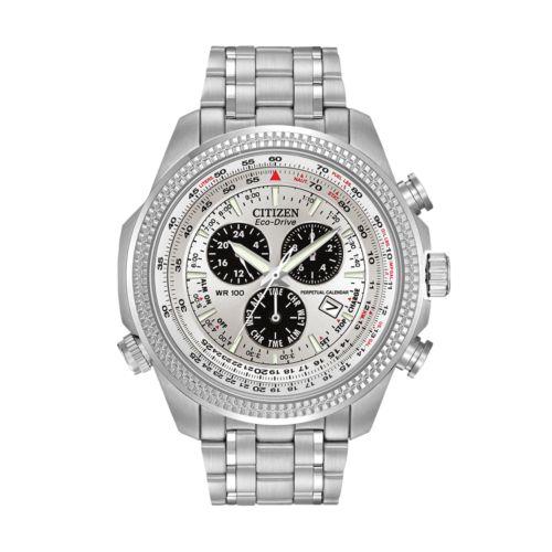 Citizen Watch - Men's Eco-Drive Stainless Steel Perpetual Calendar Flight Watch - BL5400-52A