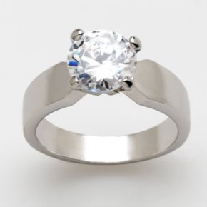 Silver-Tone Cubic Zirconia Solitaire Ring