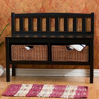 Black Rattan Storage Bench