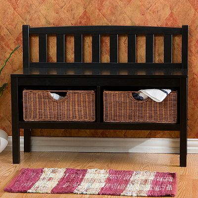 Rattan Storage Bench :  furnishings furniture home décor home life home decorating
