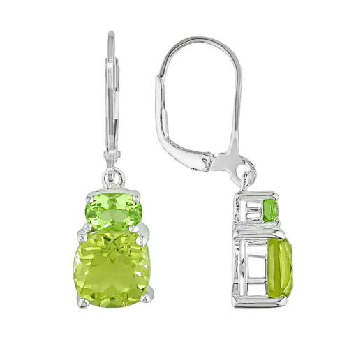 Sterling Silver Peridot and Lemon Quartz Drop Earrings