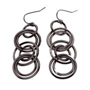 daisy fuentes Jet Hoop Drop Earrings