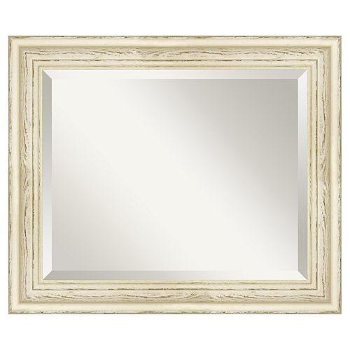 Amanti Art Country Whitewash Distressed Wood Wall Mirror