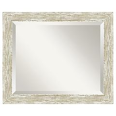 Amanti Art Cape Cod Whitewash Distressed Wood Wall Mirror