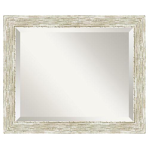 Amanti Art Cape Cod Whitewash Distressed Wood Wall Mirror