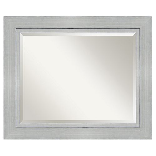 Amanti Art Romano Silver Finish Modern Framed Wood Wall Mirror