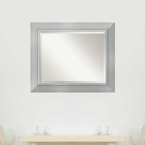 Amanti Art Romano Silver Finish Modern Framed Wood Wall Mirror