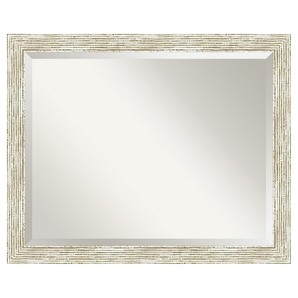 Amanti Art Cape Cod Whitewash Distressed Wood Medium Wall Mirror