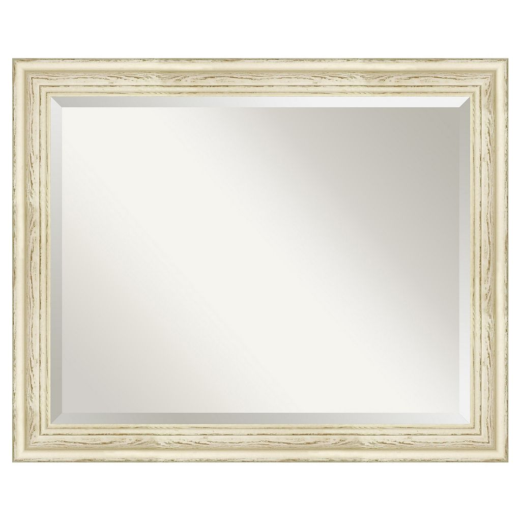 Amanti Art Country Distressed Whitewash Wood Wall Mirror
