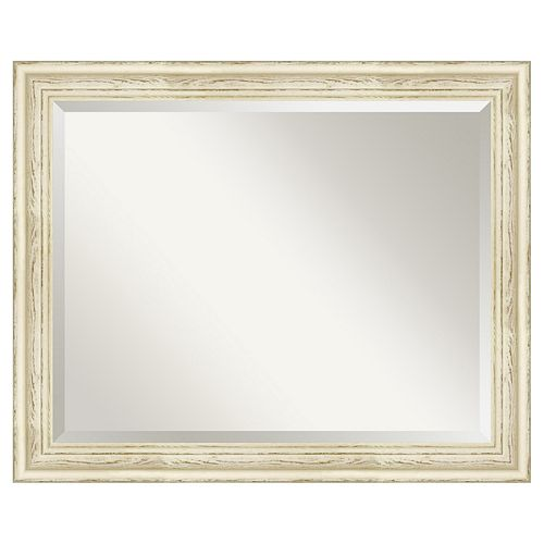 Amanti Art Country Distressed Whitewash Wood Wall Mirror