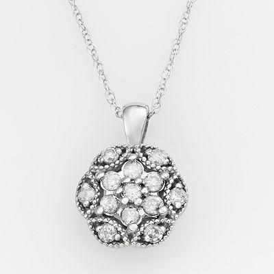 10k White Gold 1/4-ct. T.W. Diamond Floral Pendant