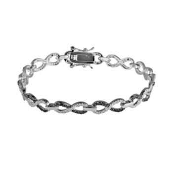 Sterling Silver 1/4-ct. T.W. Black and White Diamond Infinity Bracelet