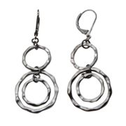Candie's Jet Hammered Circle Drop Earrings