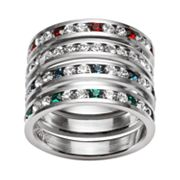Traditions Sterling Silver Swarovski Crystal Eternity Ring Set