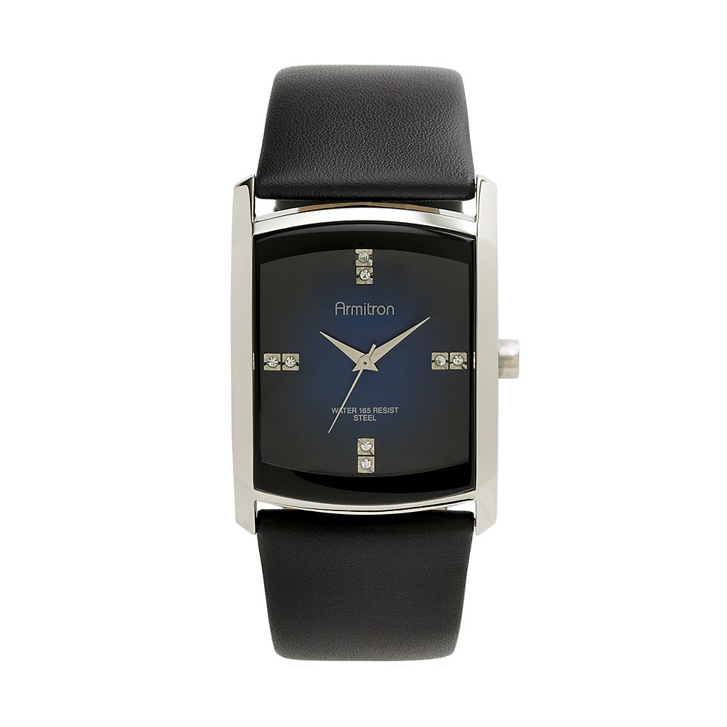 Armitron Men's Crystal Leather Watch - 20/4604DBSVBK