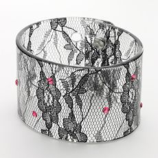 Candie's Silver-Tone Crystal Lace Bangle Bracelet from kohls.com