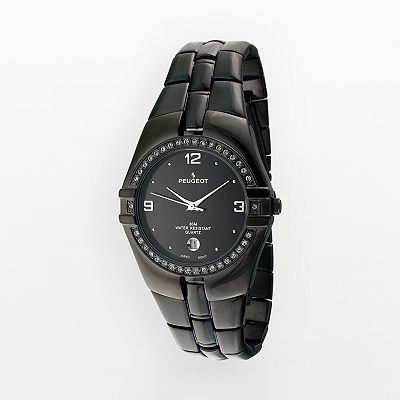 Peugeot Black Ion Crystal Watch - Men