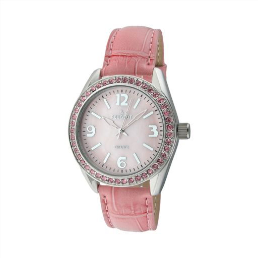 Peugeot Women's Crystal Leather Watch - 3006PK