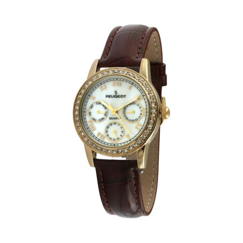 Peugeot Gold Tone Mother-of-Pearl Crystal Leather Watch - Women